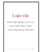 Luận văn: Hoàn thiện nghiệp vụ cho vay của Sở giao dịch I- Ngân hàng Công thương Việt Nam pot