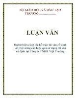 LUẬN VĂN: Hoàn thiện công tác kế toán tài sản cố định với việc nâng cao hiệu quả sử dụng tài sản cố định tại Công ty TNHH Việt Trường docx