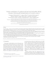 Positive modulation of cognition and mood in the healthy elderly volunteer following the administration of Centella asiatica ppt