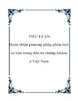 TIỂU LUẬN: Hoàn thiện phương pháp phân tích cơ bản trong đầu tư chứng khóan ở Việt Nam doc