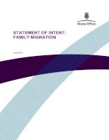 STATEMENT OF INTENT: FAMILY MIGRATION pot