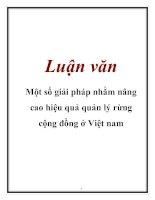Luận văn: Một số giải pháp nhằm nâng cao hiệu quả quản lý rừng cộng đồng ở Việt nam ppt