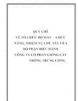 QUY CHẾ VỀ TỔ CHỨC BỘ MÁY – CHỨC NĂNG, NHIỆM VỤ CHỦ YẾU CỦA BỘ PHẬN ĐIỀU HÀNH CÔNG TY CỔ PHẦN GIỐNG CÂY TRỒNG TRUNG ƯƠNG potx