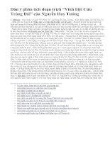 """Dàn ý phân tích đoạn trích """"Vĩnh biệt Cửu Trùng Đài"""" của Nguyễn Huy Tưởng"""