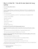 Địa Lí 12 Bài 28 – Vấn đề tổ chức lãnh thổ nông nghiệp