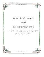 Luận văn: Hoàn thiện nghiệp vụ cho vay của Sở giao dịch INgân hàng Công thương Việt Nam docx