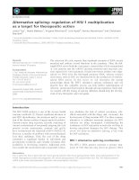 Báo cáo khoa học: Alternative splicing: regulation of HIV-1 multiplication as a target for therapeutic action docx