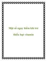 Một số nguy hiểm khi trẻ thiếu hụt vitamin pdf