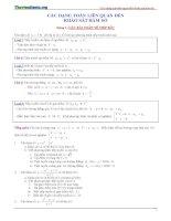 các dạnh toán liên quan đến khảo sát hàm số