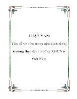 LUẬN VĂN: Vấn đề sở hữu trong nền kinh tế thị trường theo định hướng XHCN ở Việt Nam pptx