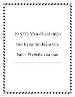 10 SEO Mẹo để cải thiện thứ hạng tìm kiếm của bạn - Website của bạn pot