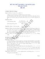 Đề thi thử đại học 2013 Môn Toán khối B Đề 45 pdf