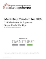 Marketing wisdom for 2006: 110 marketers and agencies share real-life tips pptx