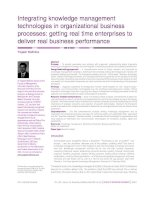 Integrating knowledge management technologies in organizational business processes: getting real time enterprises to deliver real business performance ppt