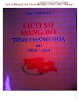 Tổng hợp lịch sử đảng bộ tỉnh thanh hóa toàn tập (1930-1954)