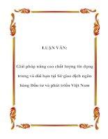 LUẬN VĂN: Giải pháp nâng cao chất lượng tín dụng trung và dài hạn tại Sở giao dịch ngân hàng Đầu tư và phát triển Việt Nam pptx