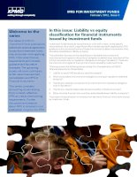 IN THIS ISSUE: LIABILITY VS EQUITY CLASSIFICATION FOR FINANCIAL INSTRUMENTS ISSUED BY INVESTMENT FUNDS doc