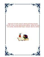 MỘT SỐ VẤN ĐỀ CƠ BẢN TRONG KẾ HOẠCH HÓA Ở CẤP VÙNG LÃNH THỔ HÀNH CHÍNH - KINH TẾ LOẠI VỪA TỈNH, THÀNH PHỐ TRỰC THUỘC TRUNG ƯƠNG. doc