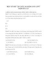 MỘT SỐ BÀI TẬP TRẮC NGHIỆM ESTE-LIPIT HÓA HỮU CƠ I. ĐỒNG PHÂN, DANH PHÁP, CÔNG THỨC TỔNG QUÁT ppt