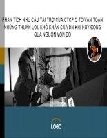 Luận văn: PHÂN TÍCH NHU CẦU TÀI TRỢ CỦA CTCP Ô TÔ VẠN TOÀN NHỮNG THUẬN LỢI, KHÓ KHĂN CỦA DN KHI HUY ĐỘNG QUA NGUỒN VỐN ĐÓ pdf