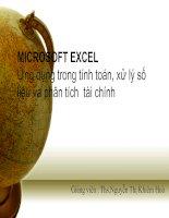 MICROSOFT EXCEL Ứng dụng trong tính toán, xử lý số liệu và phân tích tài chinh ppt