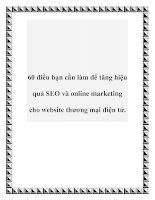 60 điều bạn cần làm để tăng hiệu quả SEO và online marketing cho website thương mại điện tử. docx