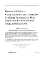 Guidance for Industry on Complementary and Alternative Medicine Products and Their Regulation by the Food and Drug Administration pptx