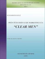 """Tiểu luận:PHÂN TÍCH CHIẾN LƯỢC MARKETING CỦA PHÂN TÍCH CHIẾN LƯỢC MARKETING CỦA """"CLEAR MEN"""" """"CLEAR MEN"""" docx"""