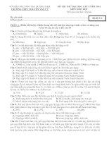 đề thi thử đại học môn sinh 2014 - thpt nguyễn văn cừ (quảng nam)