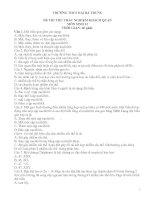 Đề thi thử trắc nghiệm sinh  lớp 12 Trường Hai Bà Trưng (có đáp án)