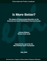More Better? The Impact of Postsecondary Education on the Economic and Social Well-Being of American Society ppt