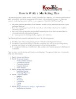 How to Write a Marketing PlanThe Marketing Plan is a highly detailed, heavily researched pdf