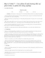 Địa Lí 9 Bài 7 – Các nhân tố ảnh hưởng đến sự phát triển và phân bố nông nghiệp