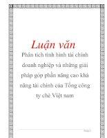Luận văn: Phân tích tình hình tài chính doanh nghiệp và những giải pháp góp phần nâng cao khả năng tài chính của Tổng công ty chè Việt nam pot