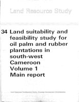Land suitability and feasibility study for oil palm and rubber plantations in south-wést Cameroon Volume 1 Main report pot