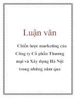 Luận văn: Chiến lược marketing của Công ty Cổ phần Thương mại và Xây dựng Hà Nội trong những năm qua pptx