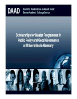 Scholarships for Master Programmes in Public Policy and Good Governance at Universities in Germany pot