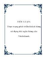 TIỂU LUẬN: Thực trạng phát triển khách hàng sử dụng thẻ ngân hàng của Vietinbank potx