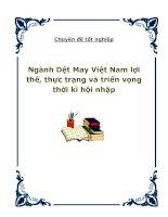 Chuyên đề tốt nghiệp Ngành Dệt May Việt Nam lợi thế, thực trạng và triển vọng thời kì hội nhập doc