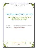 THUYẾT MINH DỰ ÁN ĐẦU TƯ XÂY DỰNG NHÀ MÁY SẢN XUẤT GẠCH KCA KHÍ CHƯNG ÁP (AAC) pdf