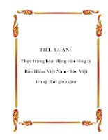 TIỂU LUẬN: Thực trạng hoạt động của công ty Bảo Hiểm Việt Nam- Bảo Việt trong thời gian qua potx