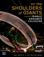 on the shoulders of giants a course in single variable calculus - smith & mcleland
