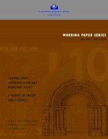 WORKING PAPER SERIES NO 898 / MAY 2008: CENTRAL BANK COMMUNICATION AND MONETARY POLICY A SURVEY OF THEORY AND EVIDENCE doc