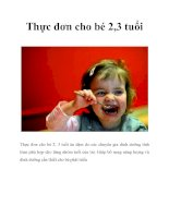 Thực đơn cho bé 2,3 tuổi pptx