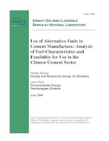 Use of Alternative Fuels in Cement Manufacture: Analysis of Fuel Characteristics and Feasibility for Use in the Chinese Cement Sector pdf