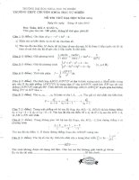 Đề đáp án thi thử đh lần 1 trường chuyên KHTN hà nội 2014 môn toán lý hóa