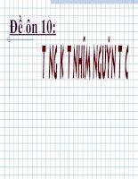 Bài tập trắc nghiệm ôn thi đại học 2007 môn hóa đề số 10 pptx
