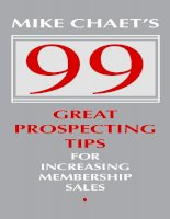 MIKE CHAET'S 99 GREAT PROSPECTING TIPS FOR INCREASING MEMBERSHIP SALES ppt