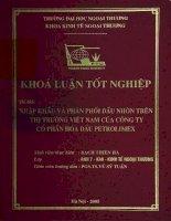 Nhập khẩu và phân phối dầu nhờn trên thị trường Việt Nam của công ty cổ phần hóa dầu petrolimex