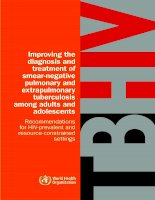 Improving the diagnosis and treatment of smear-negative pulmonary and extrapulmonary tuberculosis among adults and adolescents pdf